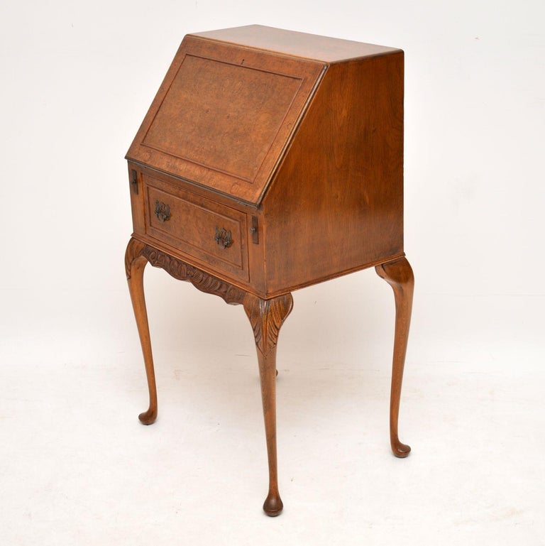 Antique Burr Walnut Writing Bureau For Sale 3