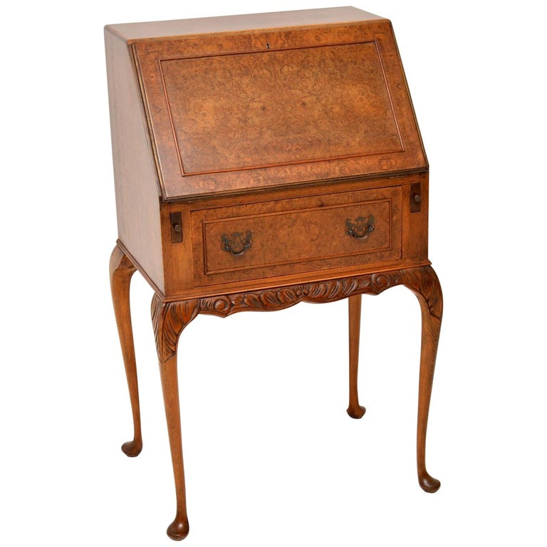 Antique Burr Walnut Writing Bureau For Sale