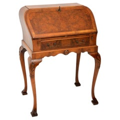 Antique Burr Walnut Writing Bureau on Legs