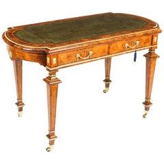 Antique Burr Walnut Writing Table Desk Holland & Sons, 19th Century