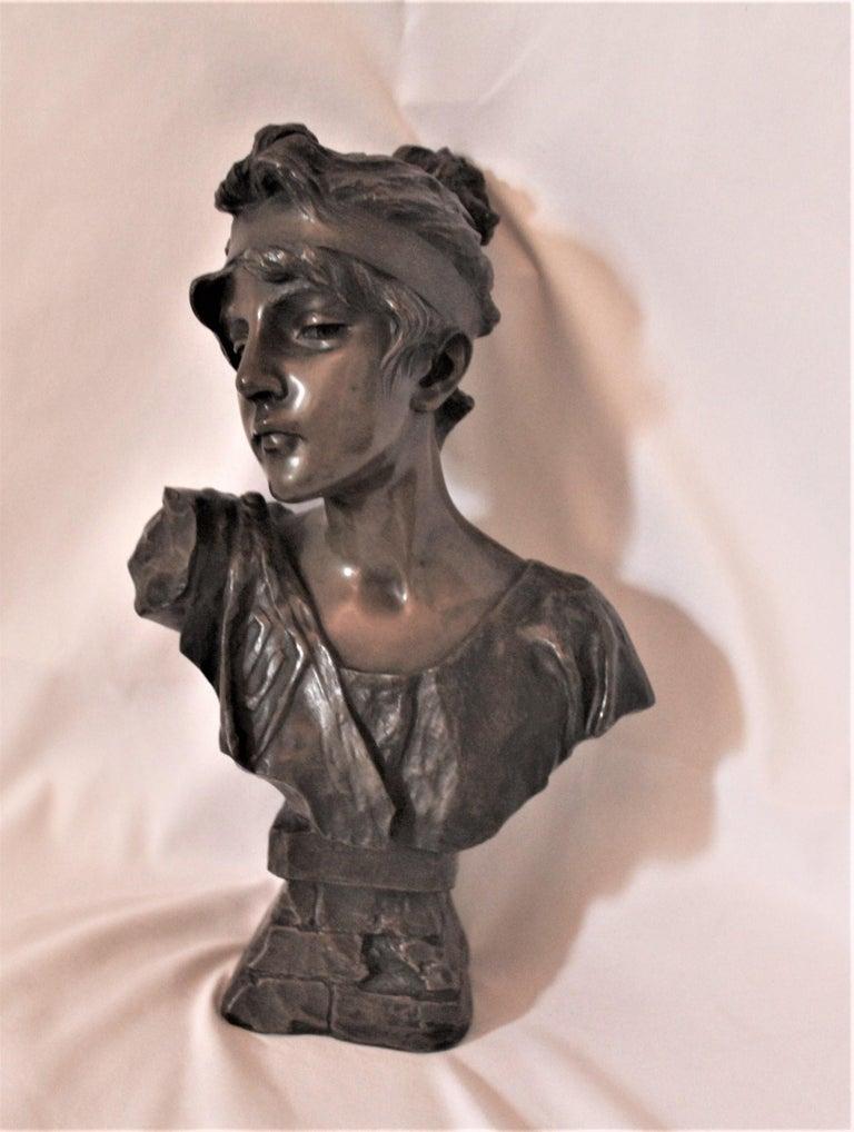 Art Nouveau Antique Bust, by Villanis Bronze Medium Size For Sale