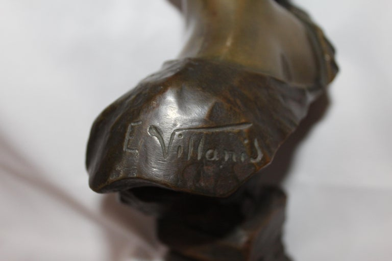 Late 19th Century Antique Bust, by Villanis Bronze Medium Size For Sale