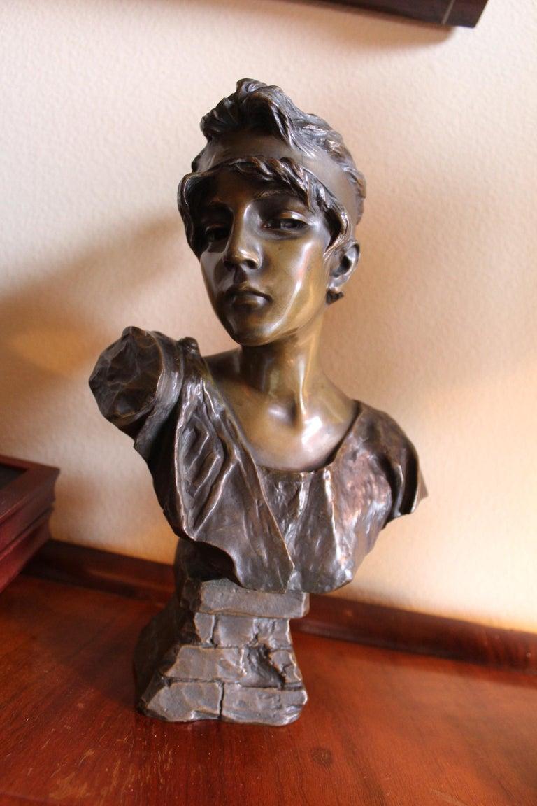 Antique Bust, by Villanis Bronze Medium Size For Sale 3