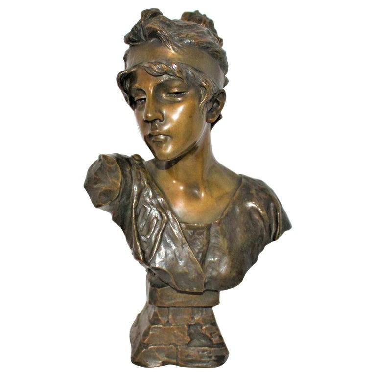Antique Bust, by Villanis Bronze Medium Size For Sale