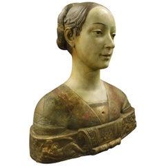 Antique Bust of a Florentine Noblewoman Terracotta Sculpture Statue, 1800 Italy