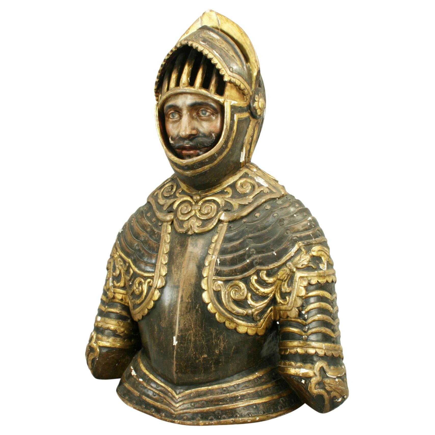Antique Bust of a Spanish Knight, Hand Carved with Original Gesso and Paint