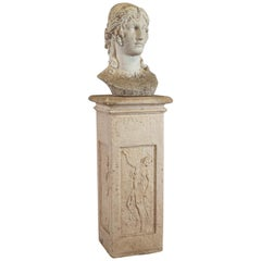 Antique Bust on Podium, Garden, Italian, Classical, Female Pose, circa 1910