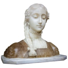 Antique Bust Sculpture of Lady, Marble / Alabaster, France, 1880
