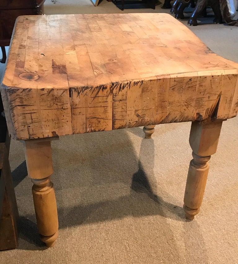 Antique Butcher Block Table For Sale 3