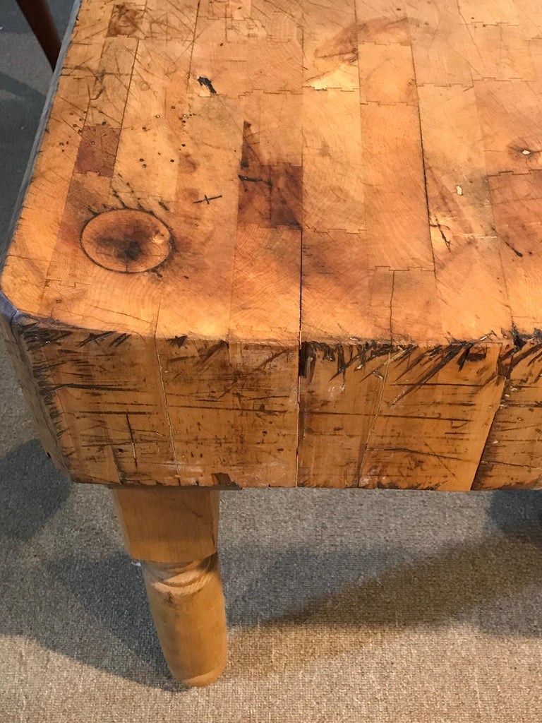 French Antique Butcher Block Table For Sale