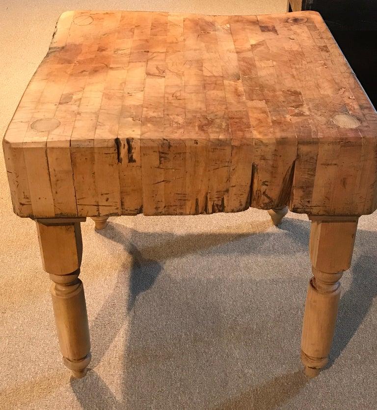 20th Century Antique Butcher Block Table For Sale