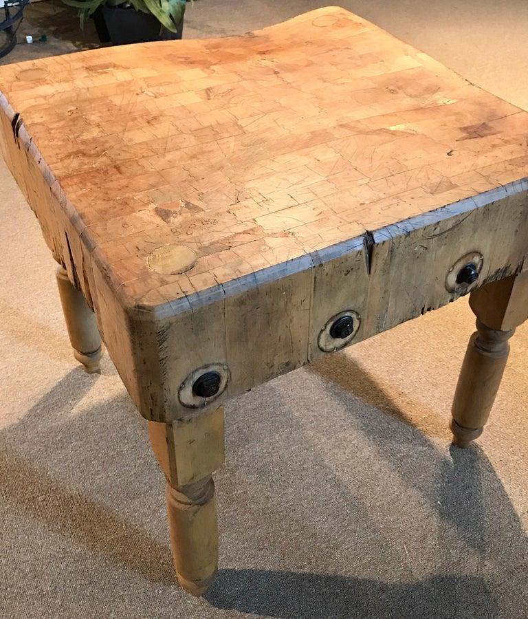 Maple Antique Butcher Block Table For Sale
