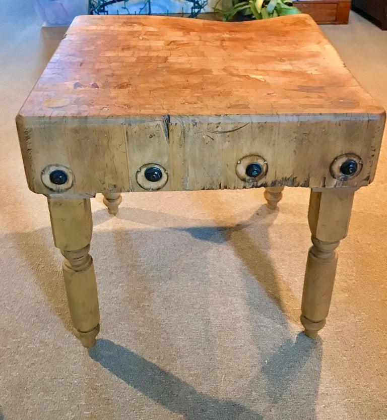 Antique Butcher Block Table For Sale 1