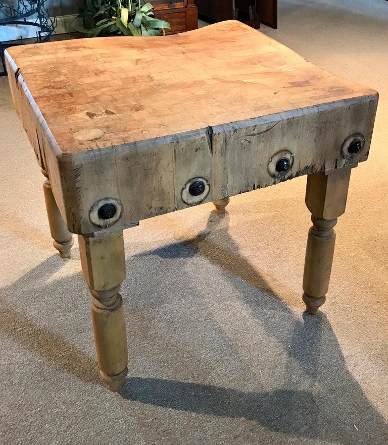 Antique Butcher Block Table For Sale 2