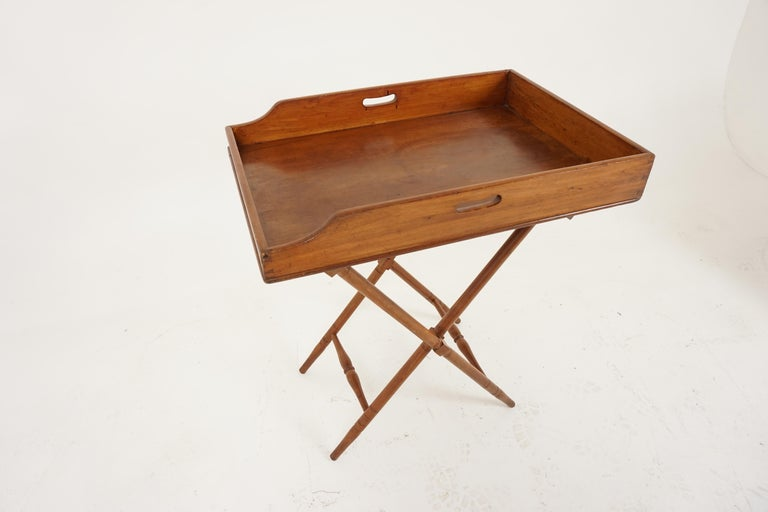 Scottish Antique Butler's Tray, Victorian Walnut Drinks Stand, Scotland 1870, B2034 For Sale