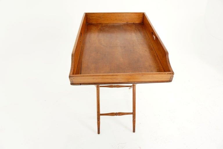 Hand-Crafted Antique Butler's Tray, Victorian Walnut Drinks Stand, Scotland 1870, B2034 For Sale