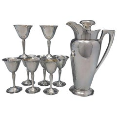 Antique by Wallace Sterling Silver Nine-Piece Martini Set Vintage