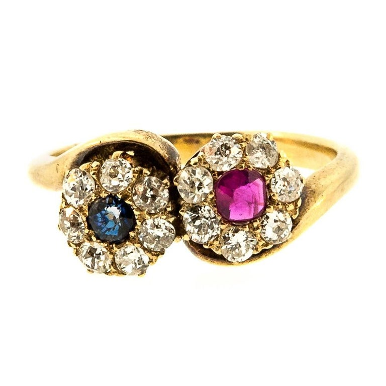 Antique Bypass Ruby Sapphire Diamond Ring