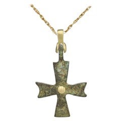 Antique Cross Byzantine Cross set with 18 Karat Yellow Gold, old Roman Cross