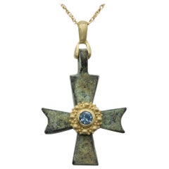 Antique Byzantine Cross Set with 18 Karat Yellow Gold & Aquamarine Roman Cross