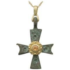 Antique Byzantine Cross Set with 18 Karat Yellow Gold & Sapphire Old Roman Cross