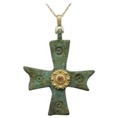 Byzantine Cross Set with 18 Karat Yellow Gold & Sapphire Antique Roman Cross