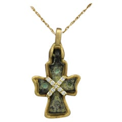 Antique Cross Byzantine Cross set with 18 Karat Yellow Gold old Roman Cross