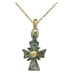 Antique Byzantine Cross with 18 Karat Yellow Gold Old Roman Cross