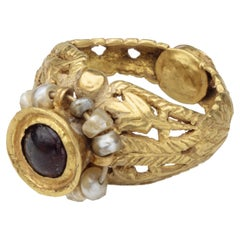 Antique Byzantine Gold Ring with Garnet and Emerald
