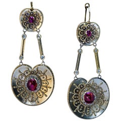 Antique Byzantine Style Gold Ruby Diamond Earrings