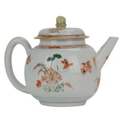 Antique circa 1700 Chinese Porcelain Kangxi Famille Verte Ducks Teapot