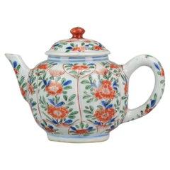 Antique circa 1700 Chinese Porcelain Kangxi Famille Verte Lotus Teapot