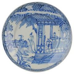 Antique circa 1700 Japanese Edo Porcelain Blue White Dish Figures Ladies