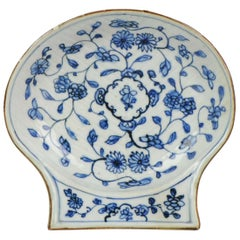 Antique circa 19700 Shell Shaped Chinese Blue and White Dish, Kangxi Porcela