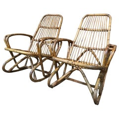 Antique Colonial Cane Rocking Armchairs from a Boarding School in South
