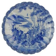 Antique circa 1900 Japanese Meiji Porcelain Blue White Dish Figures Ladies
