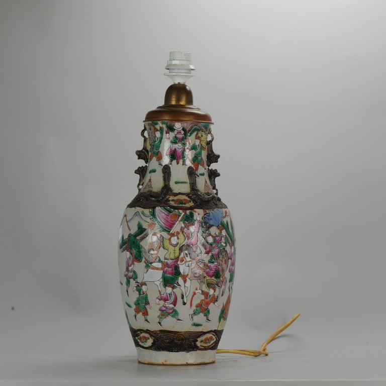 Antique, circa 1900 Nanking Warrior Vase China Chinese
