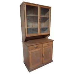 Antique Ca 1900 Solid Light Oak English Kitchen Cabinet