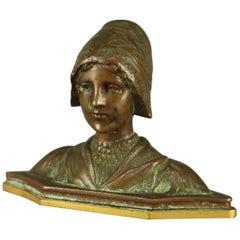Antique Cabinet Bronze Bust Portrait Bust Sculpture of Woman, circa 1900