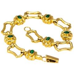 Antique Cabochon Emerald and 18 Carat Gold Bracelet