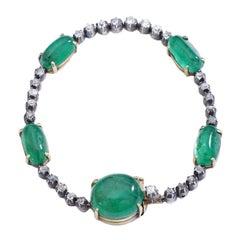 Antique Cabochon Emerald Diamond Bracelet