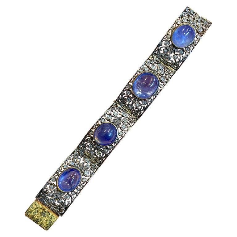 Antique Cabochon Sapphire and Diamond Bracelet For Sale