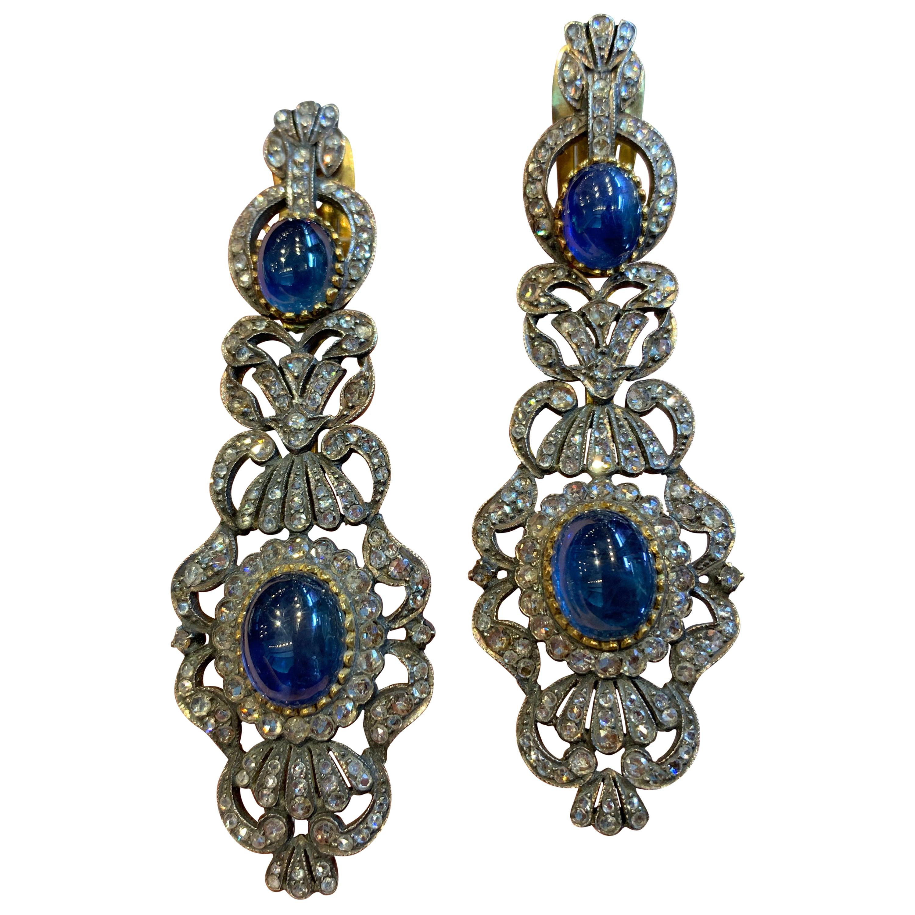 Antique Cabochon Sapphire and Diamond Earrings
