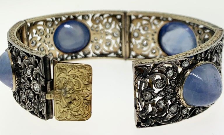 Antique Cabochon Sapphire and Diamond Bracelet For Sale 6