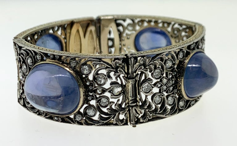 Antique Cabochon Sapphire and Diamond Bracelet For Sale 7
