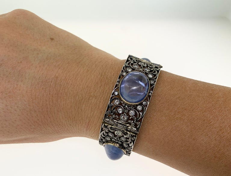 Victorian Antique Cabochon Sapphire and Diamond Bracelet For Sale