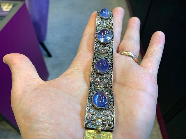 Women's Antique Cabochon Sapphire and Diamond Bracelet For Sale