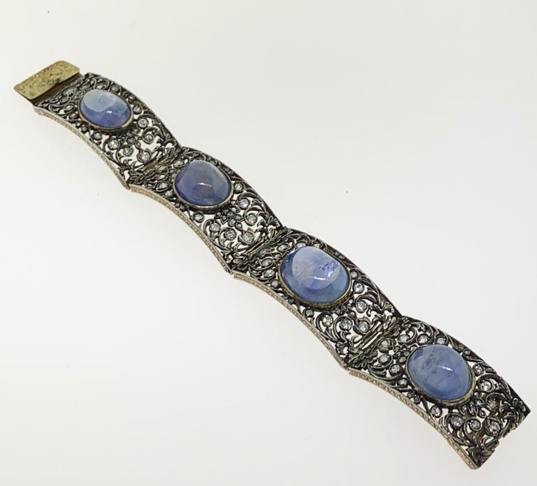 Antique Cabochon Sapphire and Diamond Bracelet For Sale 3