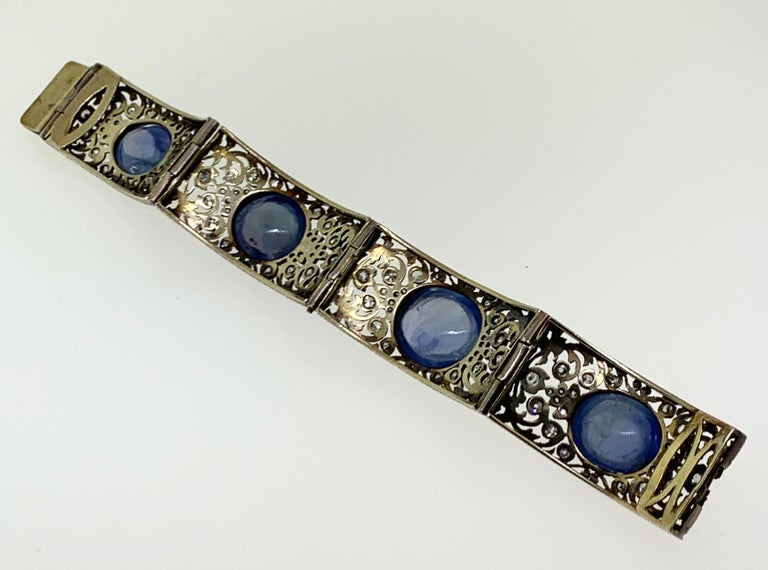 Antique Cabochon Sapphire and Diamond Bracelet For Sale 4