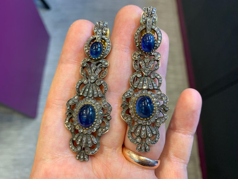 Antique Cabochon Sapphire & Diamond Earrings  Victorian made circa 1900 18K Gold  Measurements: 2.75
